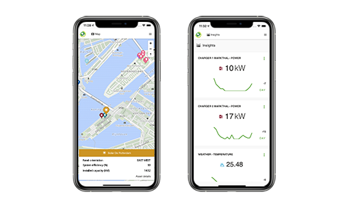 Mobile app with asset map and data visualization
